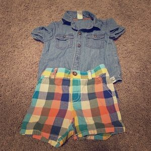 Carters denim shirt and short set